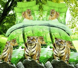 Fierce Tiger Walk Leisurely in the Forest 4-Piece 3d Bedding Sets