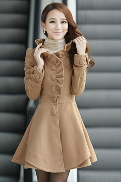 Sweet Flower Shaped Collar Woolen Coats