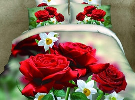 Vivid Red Roses Print 4-Piece 3d Bedding Sets