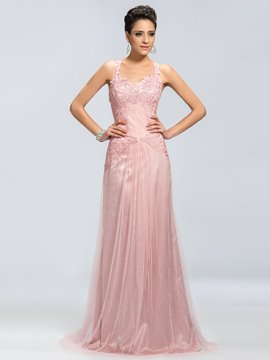 Delicate Applique A-Line Square Neck Evening Dress