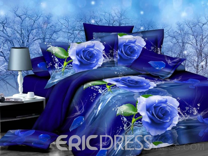 Mysterious Blue Rose Print 4-Piece Polyester Duvet Cover Sets Ericdress