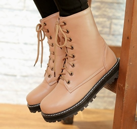 Unique Solid Color Lace-Up Round Toe Martin Boots
