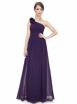 Advanced A-line Floor-Length One-Shoulder Chiffon Evening Dress