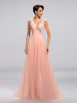 Sexy V-Neck A-Line Pleats Crystal Evening Dress