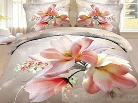 Delicate 100% Cotton Flowers Print 4-Piece 3d Bedding Sets