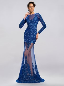 Classy Sexy Column Applique Full-Length Evening Dress
