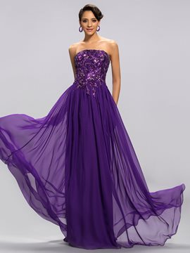Delicate Strapless Appliques Ruched A Line Evening Dress