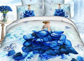Mysterious Blue Beauty 4-Piece 3d Bedding Sets