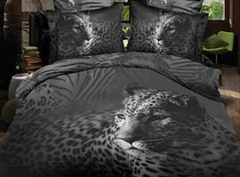 100% Cotton Leopard Print 4-Piece 3d Bedding Sets