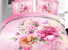 Sweet Pink Flowers 4-Piece 3d Bedding Sets
