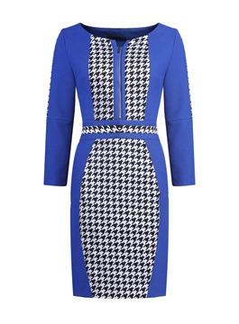 Classy Scoop Long Sleeves Houndstooth Little Party Dress