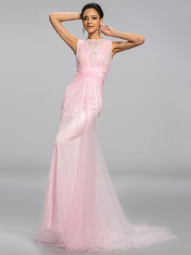 Gorgerous Scoop Lacey Back Sweep Train Evening Dress