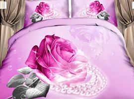 100% Pink Rose Pearl 4-Piece 3d Bedding Sets