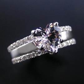 Romantic Heart Shaped SONA Diamond 925 Sterling Silver Engagement/Wedding Ring Set