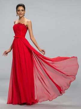 Strapless A-line Floor-Length Evening Dress