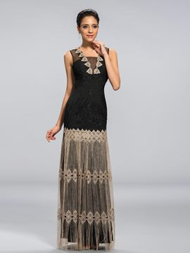Classy Applique Column Floor Length Evening Dress
