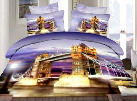 London Tower Bridge Print 4-Piece 3D Cotton Duvet Cover Sets
