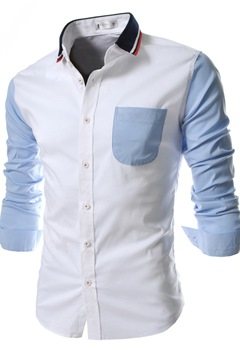 Patchwork Lapel Single-Breasted Shirt