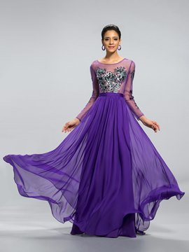 Splendid Tulle Appliques Long Sleeve A-Line Long Evening Dress