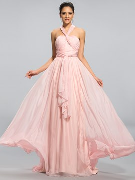 Concise Halter A-Line Floor Length Evening Dress