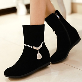 Black Elevator Heel Side Zipper Ankle Boots