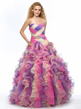 Stylish Sweetheart Crystal Ruched Cascading Ruffles Floor-Length Quinceanera Dress