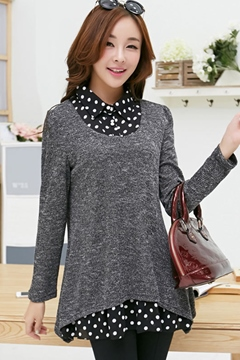 Long Sleeves Patchwoor Fake Two Pieces Knit T-Shirt