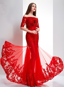 Delicate Sweetheart Half Sleeves Lace Appliques Long Evening Dress With Jacket/Shawl