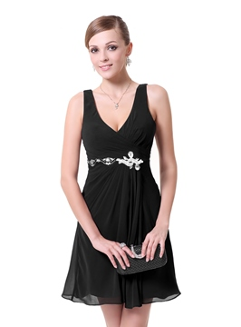 Fantastic A-Line V-Neck Crystal Chiffon Cocktail Dress