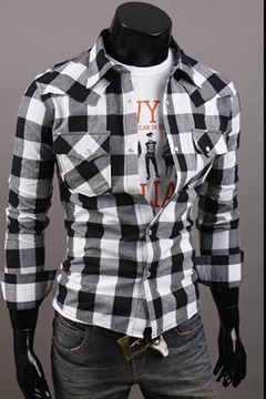 Ericdress Large Plaid Men's Shirt