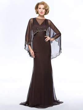 Classy V-Neck Floor-Length Sweep Train Mother of the Bride Dress With Jacket/Shawl