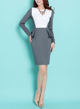 Charming Sheath Peplum Long Sleeve Little Party Dress