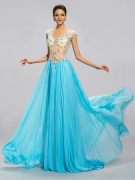 Epidemic A-Line Cap Sleeve Double V Neck Prom Dress