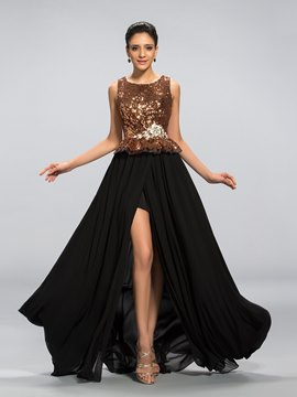 Charming A-Line Crystal Sequins Split Front Long Evening Dress