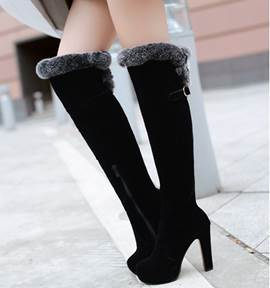 Black Round Toe Fur Over-Knee Long Boots