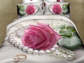 Pearl and Pink Roses Print 3D Cotton Duvet Cover Sets