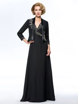 Classy Beaded Sequins Deep V-Neck Floor Length Mother of the Bride Dress With Jacket/Shawl