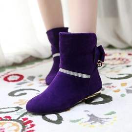 Stylish Rhinestones&bowknot Decoration Ankle Boots