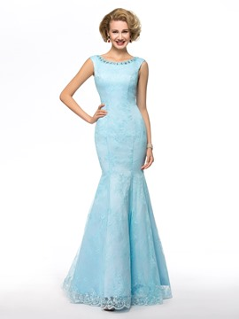 Scoop Neckline Beaded Sequins Floor Length Mother of the Bride Dresses