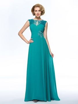 Classy Jewel Sequins Ruched Beading A-Line Mother of the Bride Dress