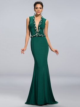 Charming Sexy V-Neck Mermaid/Trumpet Floor Length Evening Dress