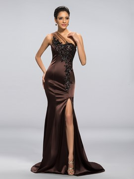 Classy One Shoulder Mermaid/Trumpet Applique Evening Dress