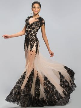 Sexy Bateau Neck Mermaid Applique Court Train Evening Dress