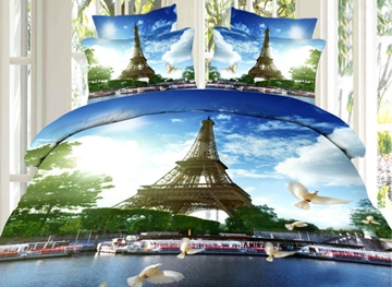 Eiffel Tower and Pigeon Print 4-Piece 3D Bedding Sets