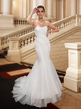 Classy Court Train Lace Mermaid Wedding Dress