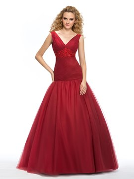 Classy V-Neck Lace Ruched Trumpet Quinceanera Dress