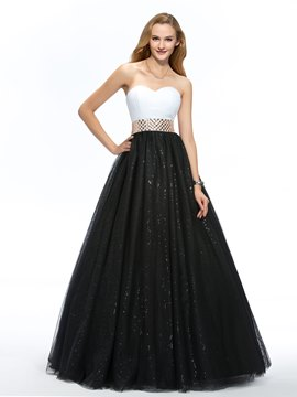Dramatic Sweetheart A-Line Beaded Sash Floor-Length Quinceanera Dress