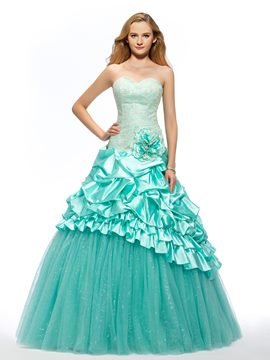 Sweetheart Embroidery Flower Tiered Lace-up Long Quinceanera Dress