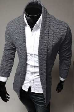 Lapel Long Sleeves Men's Knitwear