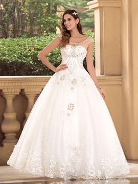 Scoop Crystal Floor Length Ball Gown Wedding Dress
